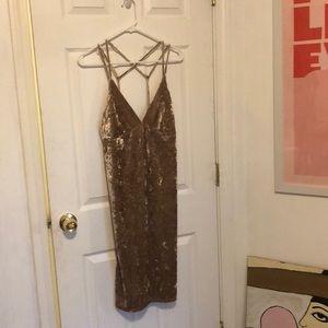 Gold Velvet Tank Dress